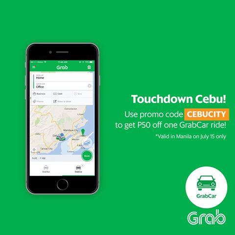 update july 15 use grabcar promo code cebucity and get php50 00 off your ride valid today only for grabcar users in manila only