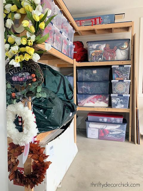 wood shelves for garage or basement storage