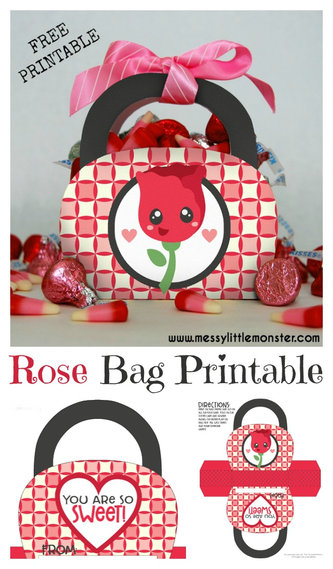 Valentines Day free printable gift bag.  A simple paper craft for kids. Simply follow the instructions to make the bag and fill with sweets. Also good for Mothers Day or a teacher gift idea.