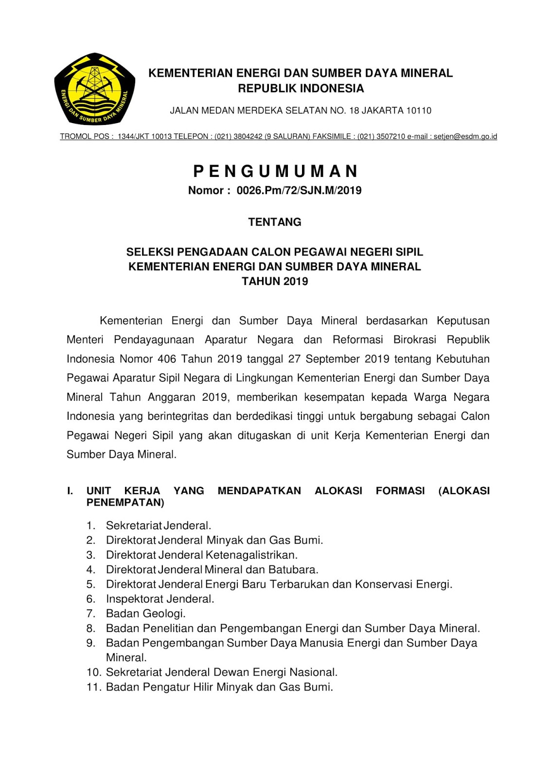 Lowongan CPNS Kementerian Energi dan Sumber Daya Mineral Tahun Anggaran 2019 [187 Formasi]