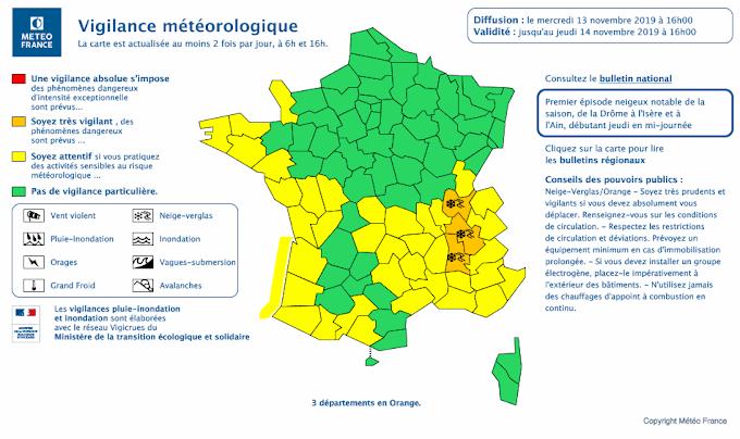 Neige-verglas : l'Hérault en vigilance Jaune