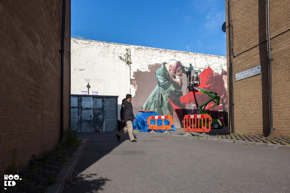 Irish artist Conor Harrington at work on his Walthamstow Street Art Mural