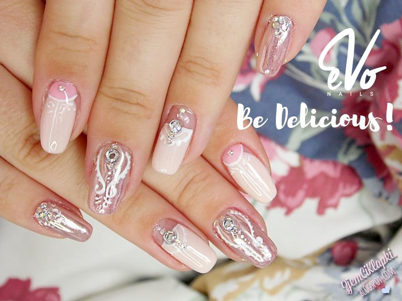 376 | Ślubny manicure z różowym złotem i Be Delicious! EvoNails + top i baza