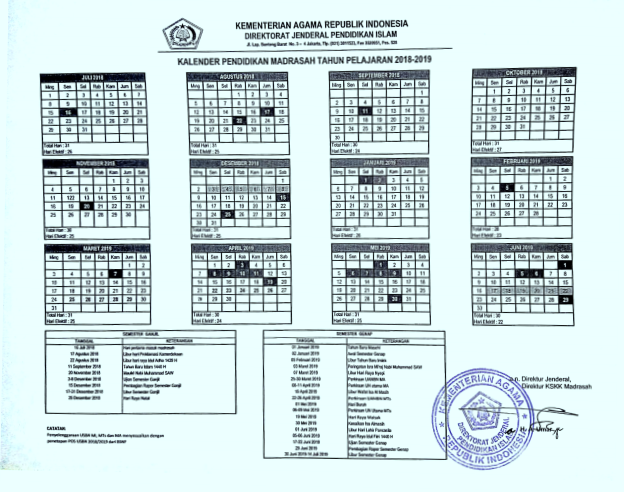 Kalender Pendidikan Kemenag 2018/2019