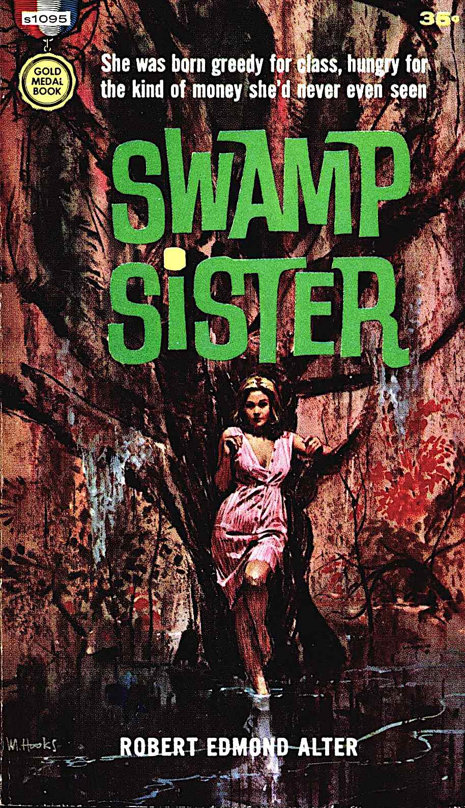 a Mitchell Hooks book cover illustration for Swamp Sister by Robert Edmond Alter