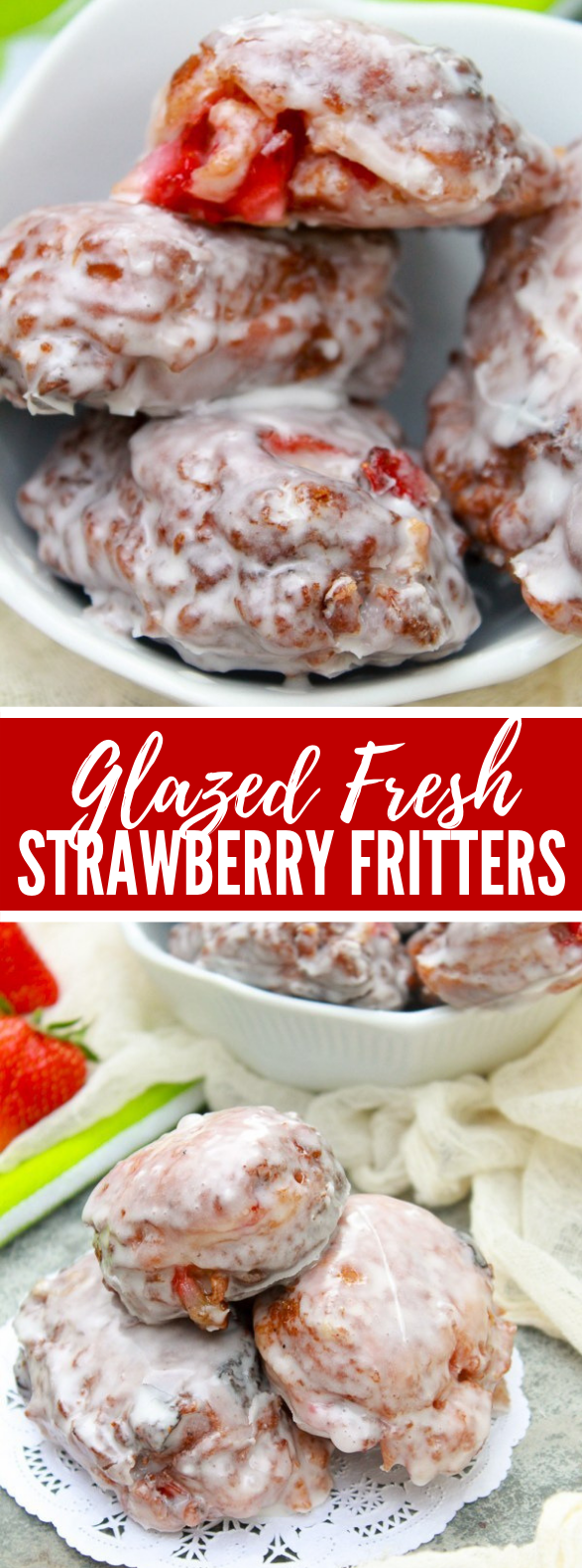 GLAZED FRESH STRAWBERRY FRITTERS #desserts #sweets