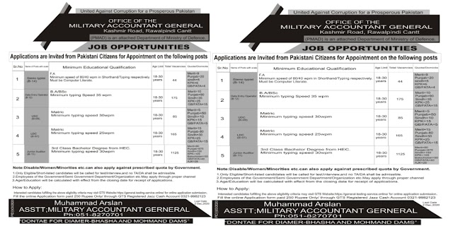 Latest 1500+ Military Accountant General Ministry Of Defence Jobs 2020