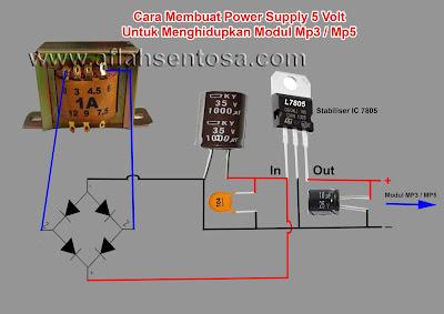 Rangkaian power supply 5 volt untuk menghidupkan modul MP3/MP5