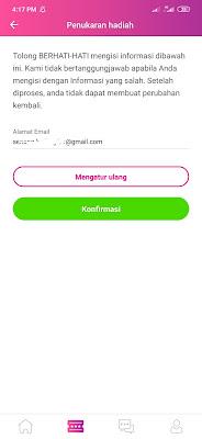 masukan email penukaran hadiah Aplikasi JAG