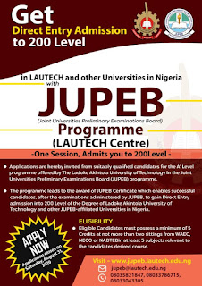 Gain Admission to 200 Level With Lautech JUPEB Program