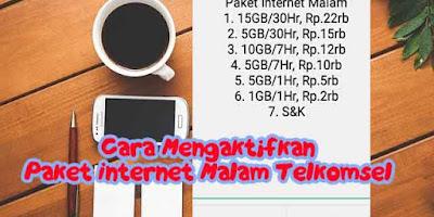 Cara Mengaktifkan Paket Internet Malam Telkomsel