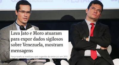 Dallagnol e Moro com manchete da Folha sobre Venezuela