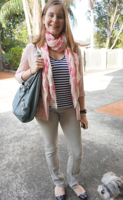 pink boyfriend blazer grey jeans stripe tee skull scarf | AwayFromBlue