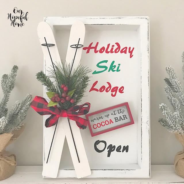 mini skis faux greenery red berries DIY ski lodge sign