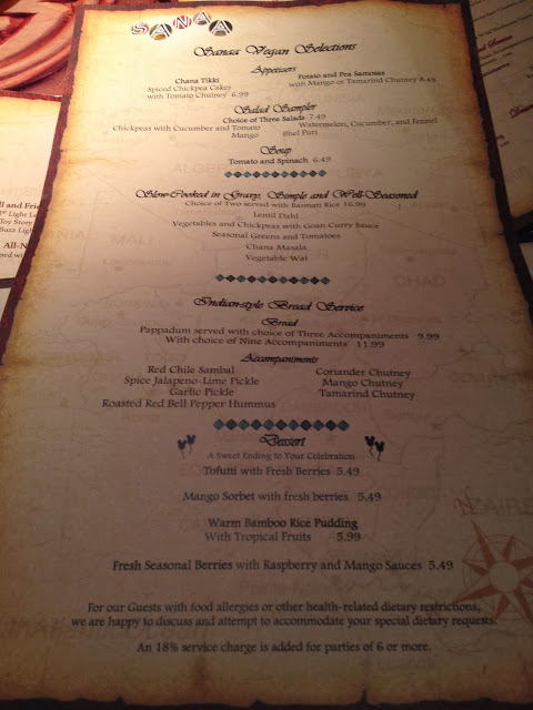 Sanaa Vegan Menu Animal Kingdom Lodge