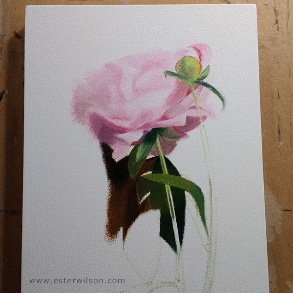 Oil painting of a flower in progress.