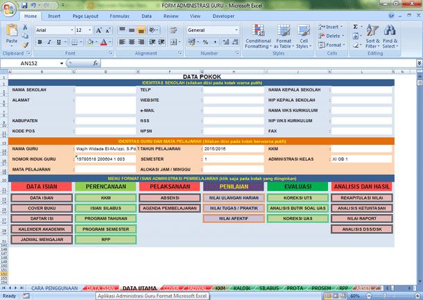 Download Administrasi Guru Mata Pelajaran Format Excel