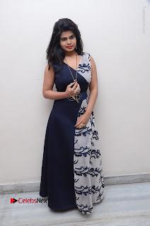 Telugu Actress Alekhya Stills in Blue Long Dress at Plus One ( 1) Audio Launch  0141.jpg