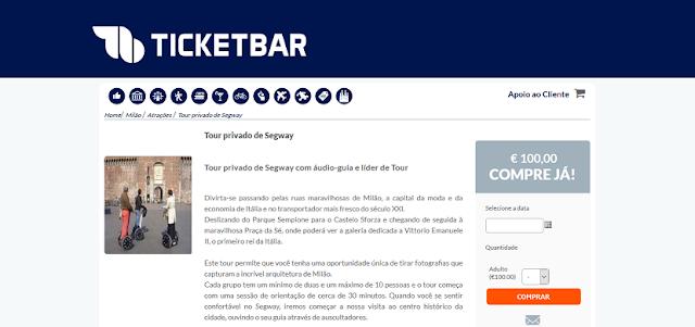 Ticketbar para ingressos para o tour privado de Segway em Milão