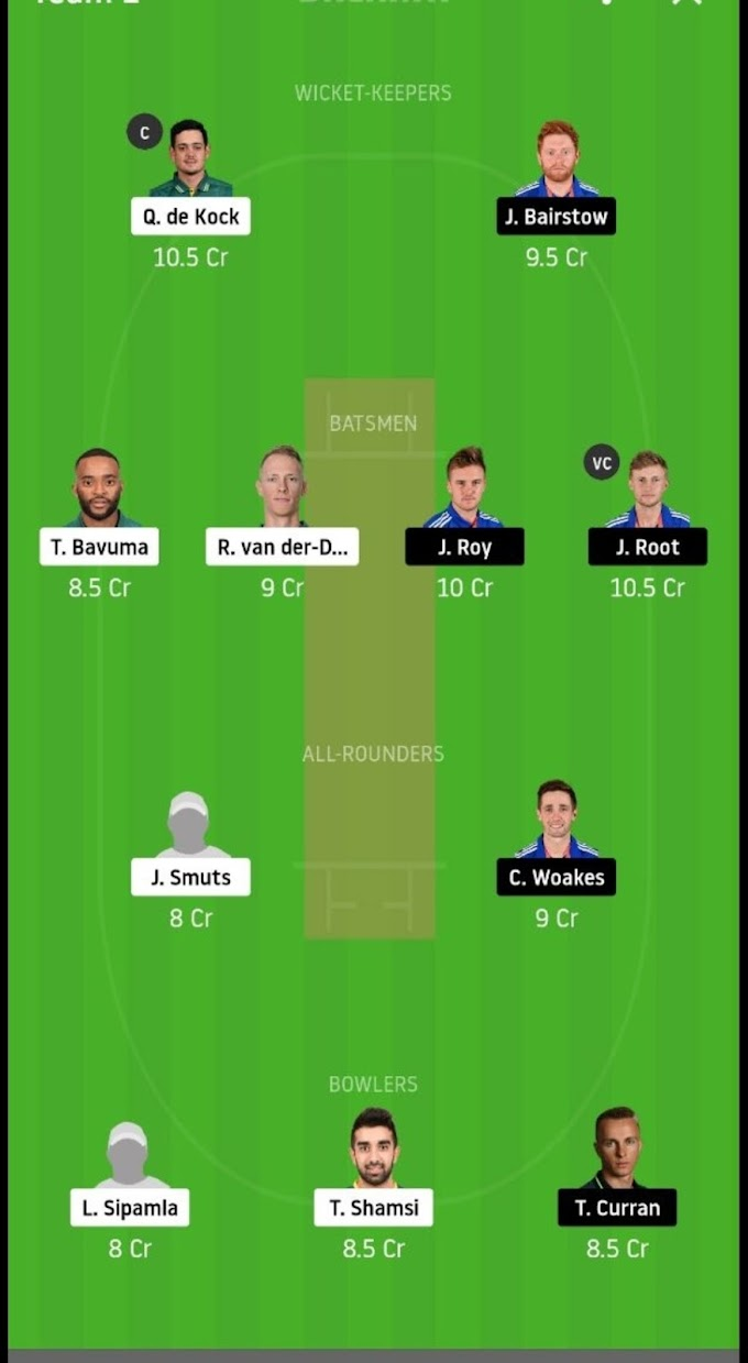 South Africa vs England 2nd ODI Match : Dream 11 Prediction And Best Team.
