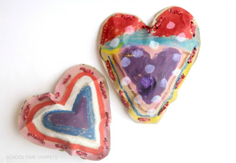 fine motor preschool valentine heart craft