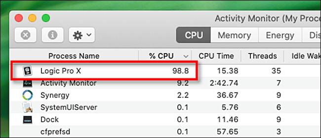 ابحث عن عمليات وحدة المعالجة المركزية عالية بشكل مريب في مراقب النشاط لنظام التشغيل Mac.