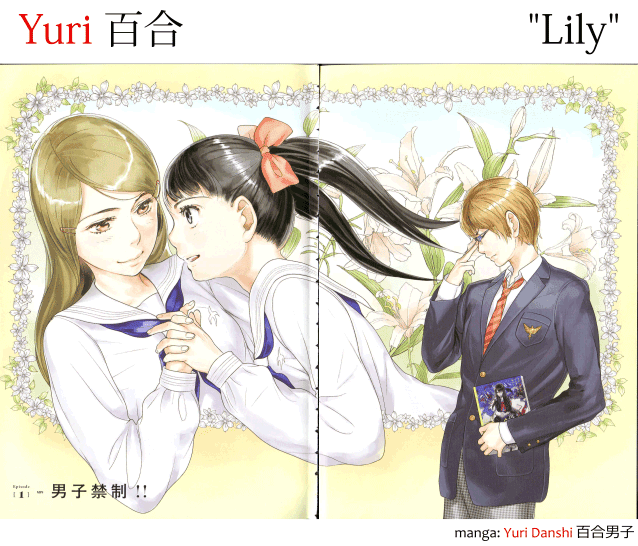 "Yuri 百合, ""Lily"" in Japanese, an image of a lesbian couple with lilies in the background from the manga Yuri Danshi 百合男子"