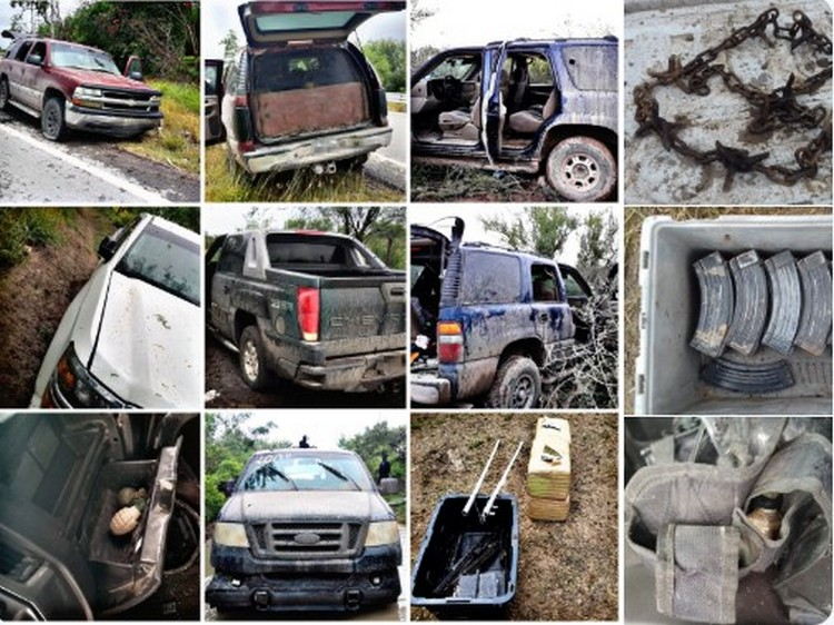 Estatales aseguran 5 camionetas con blindaje artesanal, granadas, armas largas y equipo táctico en Rio Bravo y Reynosa