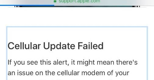 """iPhone 7: No service issue """"Cellular Update Failed"""