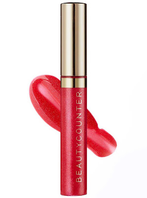 beautycounter lip gloss poppy shimmer