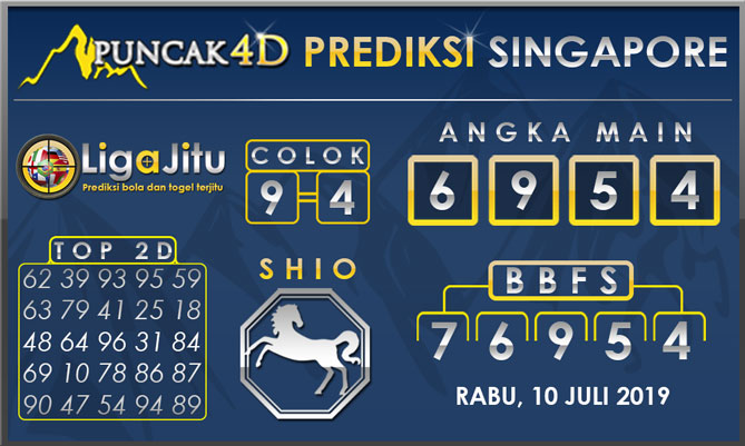 PREDIKSI TOGEL SINGAPORE PUNCAK4D 10 JULI 2019