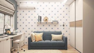 طلاء بعض الحوائط بأفكار فنون مجردة أو باستخدام ورق الحائط.