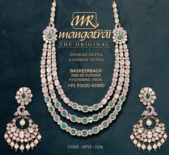 Uncut Diamond Three Layer Set by Mangatrai