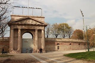 One of the neoclassical arches that form the entrances to Napoleon's Arena Civica in Milan