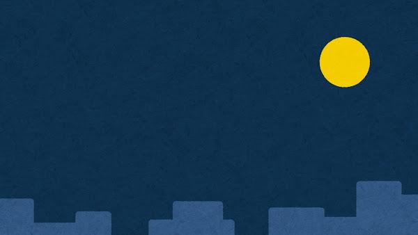 月夜の背景素材(満月・建物あり)