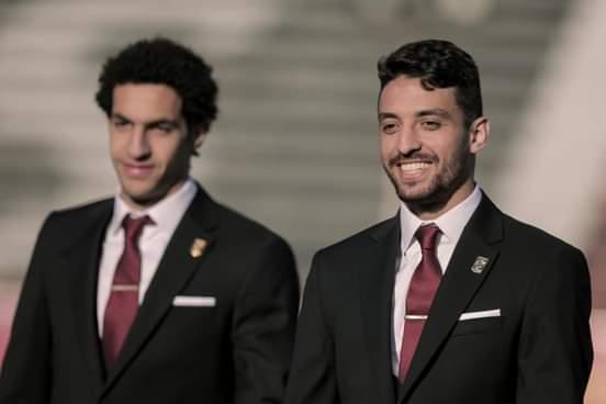 طاعر ومصطفى شوبير فى جلسة تصوير النادى الأهلى لكأس العالم للأندية 2021