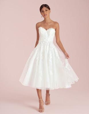 avril a glamorous short aline ivory color wedding dress