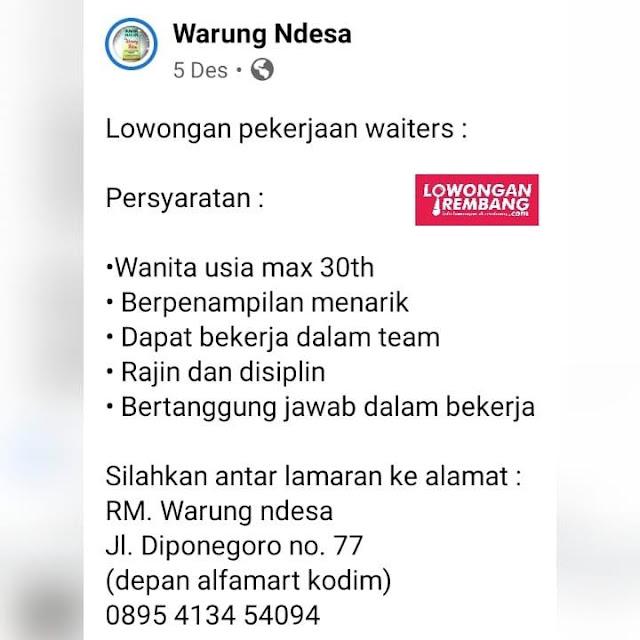 Lowongan Kerja Waiter Restoran Warung Ndesa Rembang Tanpa Syarat Pendidikan