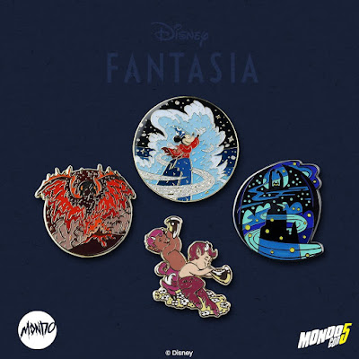 MondoCon 2019 Exclusive Disney's Fantasia Enamel Pins by Nicolas Delort x Mondo