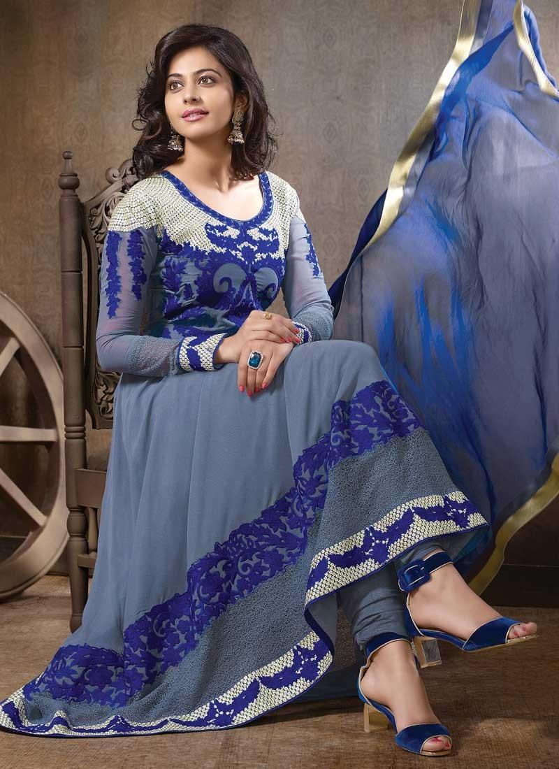 Rakul Preet Photos In Embroidery Georgette Blue Anarkali Dress