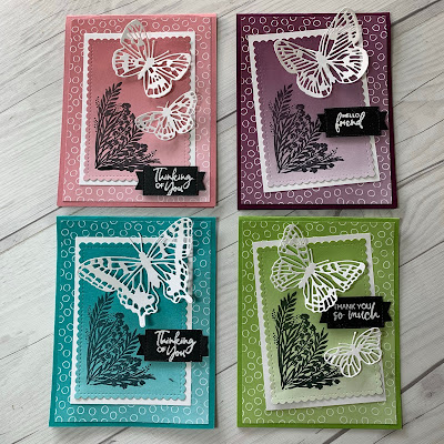 Butterfly greeting cards with Ombre Designer Series Paper