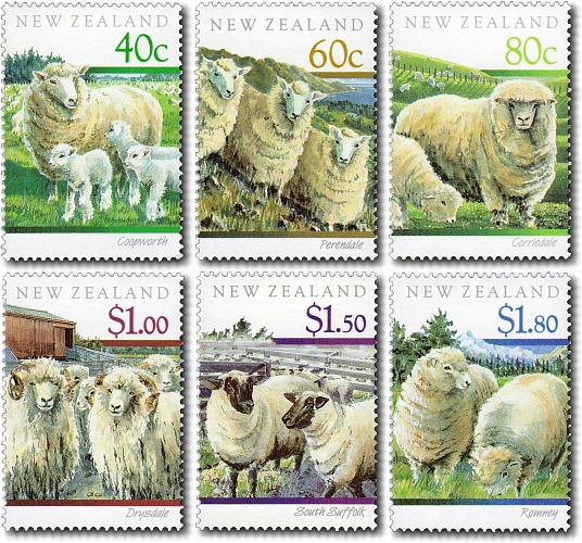 Virtual New Zealand Stamps: 1991 Sheep Breeds of New Zealand