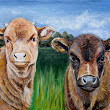 Painting #1 in 30 paintings in 30 days. Baby Longhorn cows