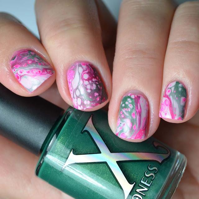 thermal green fluid art nail polish swatch