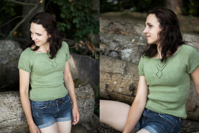 Von oben nach unten gestricktes Shirt mit Raglanschrägung und kurzen Ärmeln - gratis Anleitung von Garnstudio / dropsdesign