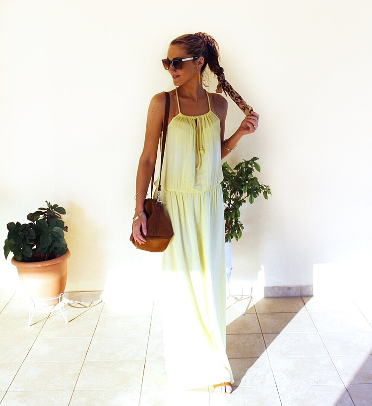Jelena Zivanovic Instagram @lelazivanovic.Yellow maxi dress sundress.Maxi zuta haljina.