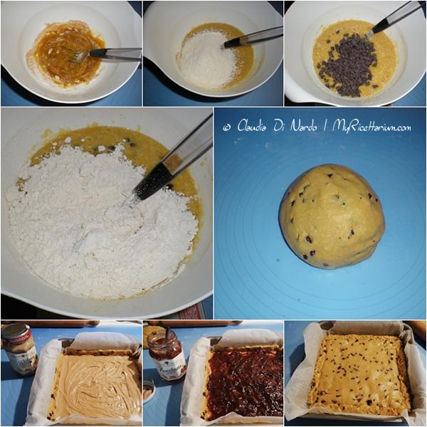 Crostata cookie al cocco, doppia farcitura con crema di nocciole e confettura ciliegie