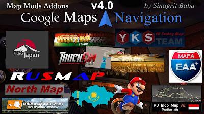 ETS 2 - Google Maps Navigation Normal & Night Version Map Mods Addons v4.0