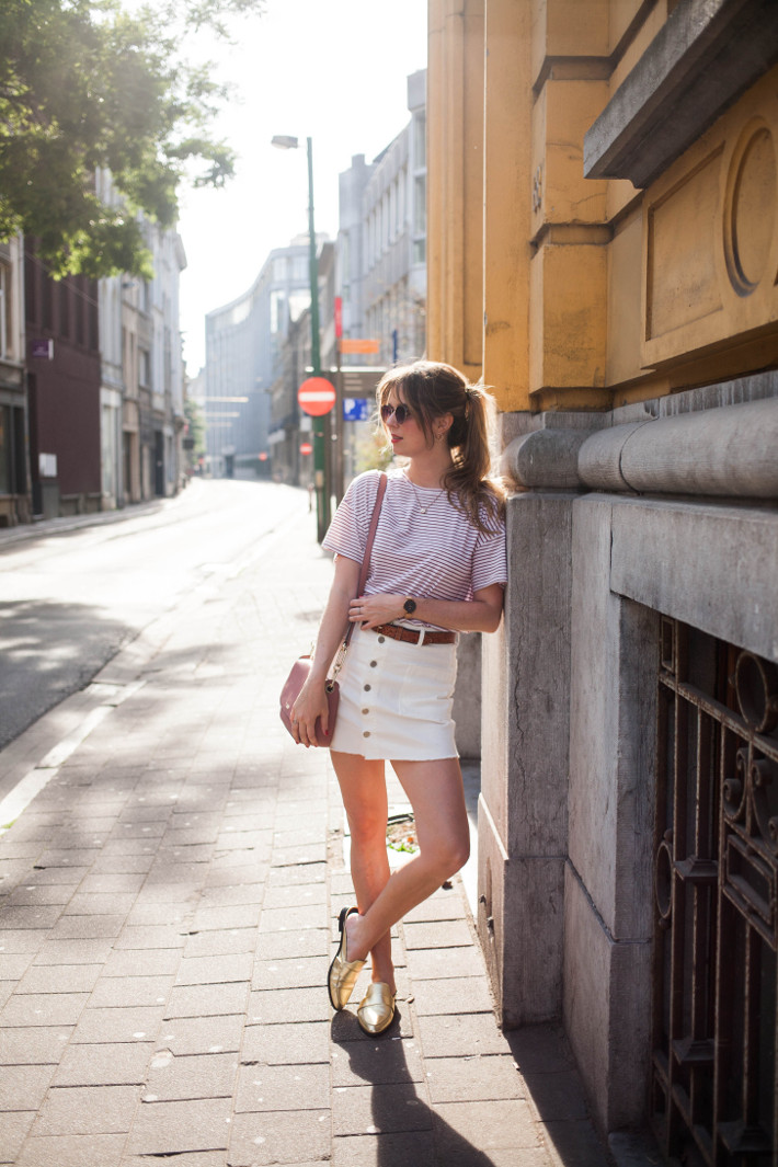 Outfit: Parisian in stripes and slip on loafers