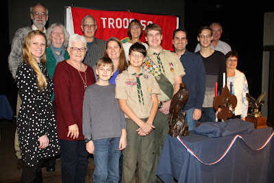 Jacob and his extended family at the conclusion of his Eagle Scout Court of Honor